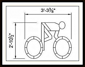 Шаблон из металлического троса для штамповки асфальта - Bicycle Pavement Sign